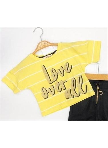 Riccotarz Kız Çocuk Love Çizgili Alt Üst Takım Renkli